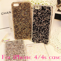 2014 New Luxury Bling Crystal Shining Case For iPhone 4 4s High Quality Plastic Case For iPhone 4 4s Free Shipping