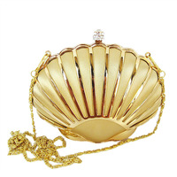 Luxury Golden Shell style evening bag,new arrival women's handbag gift diamond Knuckle Mini Metal Clutches women's evening bag
