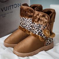 Snow boots female winter cotton-padded shoes patchwork platform boots slip-resistant leopard print rabbit fur tassel medium-leg