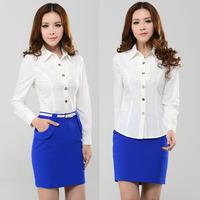 White long-sleeve shirt skirt career dress set solid color shirt slim bust skirt work uniforms 1877