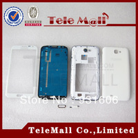 Wholesale Perfect White Full Housing Cover Case/middle frame/battery door with outer glass For Samsung Galaxy Note 2 N7100