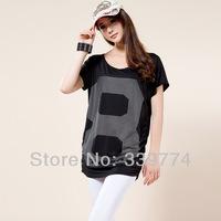 CS252 new 2014 fashion Women Bat-wing sleeve Short Sleeve T shirt Top Cotton Loose Long Shirt White Black Plus Size Blouse L-4XL