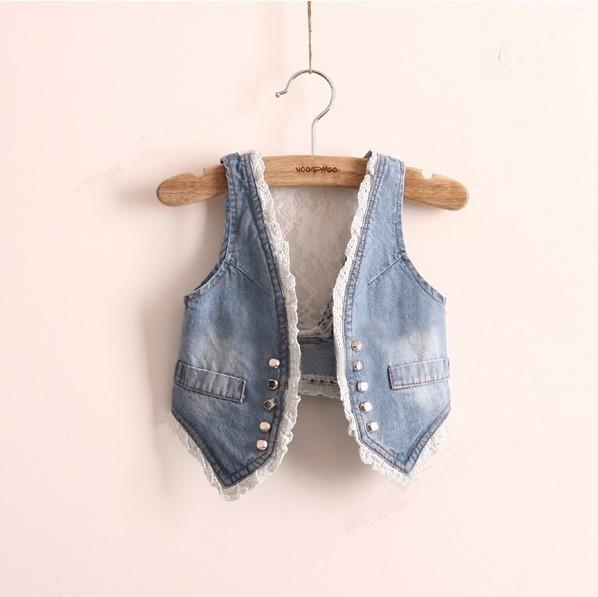 Fashion Girls Denim Vest Baby Children's Lace Vest & Waistcoat Clothes V-neck Sleeveless Kids Autumn Jeans Jacket Coats AV001(China (Mainland))