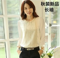 2013 autumn puff sleeve white laciness lace shirt slim chiffon long-sleeve basic shirt 9675