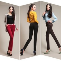 New 2014 Fashion Slim Solid Color Elastic High Waist Casual Pencil Pants For Women, Plus Size Trousers Women, Harem Pants Women
