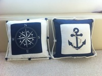whole- sales,Canvas print embroidery compass lobster home fabric cushion pillow