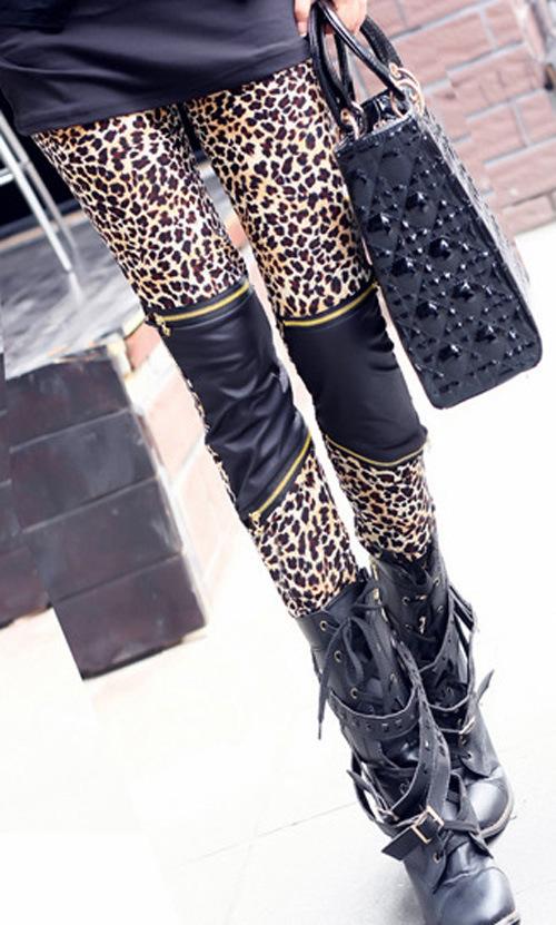 Сексуальный леопардовый брюки кожа леггинсы молния leggigs
