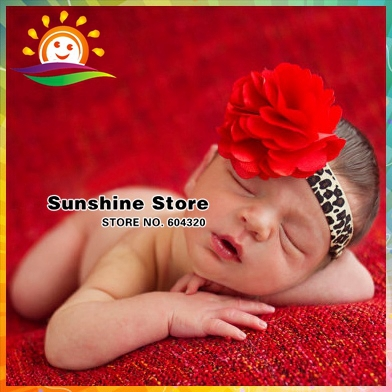 Sunshine store #2B2302 10pcs/lot(red and leopard print)infant newborn lace/Satin/Tulle Flower Puff Bows girls baby Headband CPAM(China (Mainland))