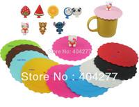 Fruit Watermelon Orange Strawberry Cartoon Hello Kitty Bear Stitch Soft Silicone Airtight Mug Glass Cup Lid Cover Diameter 4.1''