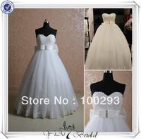 RSW405 Big Bow Empire Waist Lace Wedding Dresses For Pregnant Brides With Lace And Jacket