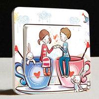 Fashion creative diy multicolor switch sticker+ romantic couples