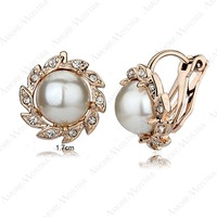 Sunflower pearl Clip on Earings Charm 18K Rose Gold Plated Shining Austria Crystal pearl Clip on Earrings E218R1