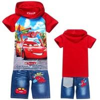 6sets/lot promotion new 2014 fashion baby boys suits new kids set Spiderman Car boys hoodies+shorts summer boys clothing set