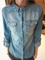2014 spring fashion vintage slim long-sleeve rivet denim shirt basic shirt female Jeans Blouse Tops FREE SHIPPING xc-1216