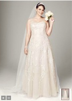 Free Shipping Sweetheart Tulle A Line Gown with Lace Appliques Style 9V3587 wedding Evening/Homecoming Dresses In Stock