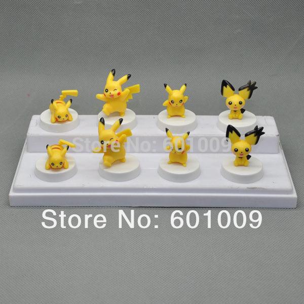 Free Shipping EMS 100/Lot 2014 8PCS/Set New Cute 4 Style Pokemon Pikachu Mini Figure(China (Mainland))