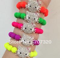 50% off wholesale kids hello kitty elastic adjust shamballa bead bracele candy colour beads with free shipping