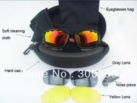 Wholesale - Brand New Men's sport cycling sunglasses outdoor Glasses Interchangeable 3 lenses 1pcs drop shipping