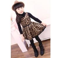 Free Shipping ! Baby Girls Leopard Cotton Dress Patchwork Belt Princess Dresses girls leopard dress GQ-332