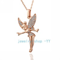 Top Quality 18K Rose Gold Plated Angel Pendant Necklace Statement Vintage Fashion Necklaces & Pendants Necklace 2013 women_N011
