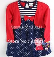 new 2014 nova kids girl peppa pig dresses spring full sleeve sweet baby girls clothing