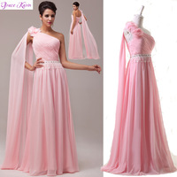 2014 New Arrival!!! GK Chiffon Floor Length Wedding Formal Evening Dress Pink One shoulder Ball Prom Party Dresses Gown CL6006