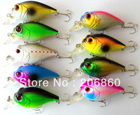 "Hot-selling, 3.15"" Crank bait Lures 9pc/lot 8CM-15G-6# hooks fishing lure crankbait wobblers pesca fishing tackle river plate"