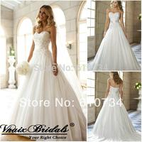 Свадебное платье W2033 Vnaix Classic Sweetheart A/Line Lace Wedding Dress Beading Sashes Court Train Zipper White Bride Gown vestidos