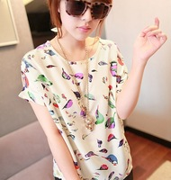 New arrival 2014 women's Summer new fashion print short-sleeve chiffion blouses shirts tops Free shipping