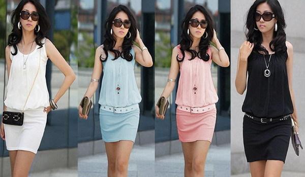 New 2014 Summer Casual Women Chiffon Mini Dress Tank Package Hip Sundress, 4 Color, S, M, L, XL(China (Mainland))