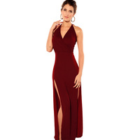 Women's popular deep red Wine V-neck placketing spaghetti strap full dress dinner party sexy dress 6129