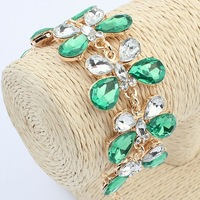 New fashion women's crystal white green butterfly acrylic stones gold plated chains bracelets & bangles free shipping #102496
