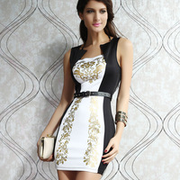 2013 women's bronzier decorative pattern slim beauty care fashion sexy one-piece dress 2928