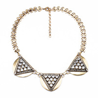 brand new 2014 vintage inspired crystal triangles pendants & necklace jc for women statement bubble collar charm bijoux jewelry
