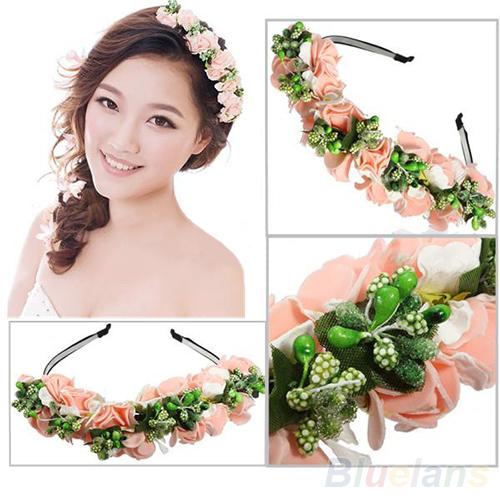 Pink/White Flower Garland Boho Floral Headband Headwear Garland Festival Wedding Bridal Hairband Women(China (Mainland))