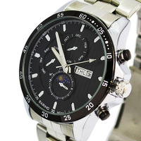READEEL 2014 New Fashion 8086 Stainless Steel Brand Analog Quartz Men Watch Date Week Men Military Wrist watch reloj Men Watches