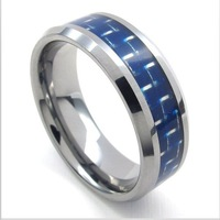 2014 Hot New wholesale popular cross tungsten steel Carbon fiber inlay Rings for people, fashion Jewelry,free shipping