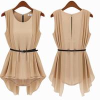 Brand chiffon blouse for women summer 2014 fashion ladies sleeveless blouse shirts black/beige slim elegant blouse with a belt