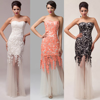 New Offer! Grace Karin Ivory/Black/Red Lace + Tulle Elegant Women Evening Dress Celebrity Gown CL6043