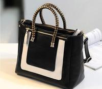 Fashion black-and-white 2013 colorant match leather fashion bag small women's handbag messenger bag