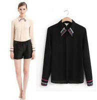 2014 Spring New Fashion Women's embroidery collar edge cuffs Long Sleeve Chiffon Shirts office lady Elegant Slim Tops st030