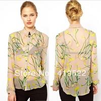Free shipping 2014 spring new European style Slim long-sleeved chiffon print whether women shirts, casual fashion shirt