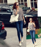 2014 New Fashion Casual Women Loose Fit Long Sleeve Leopard Chiffon Blouse Shirt, M, L, XL