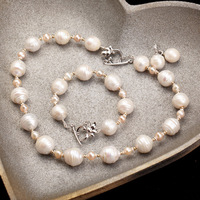 2014 New Brand Freshwater Pearl Genuine Baroque Necklace/Bracelet Choker Vintage Exquisite Luxury Handwork Jewelry#BPE30/E31