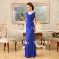2014 High Quality  Elegant V-neck Long Evening Dresses D0109 Free Shipping