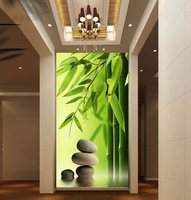 Luxury Embossed Nature 3D Murals Wallpaper for tv background wall paper roll Bamboo Stone fresco Larger landscape Eco-friendly