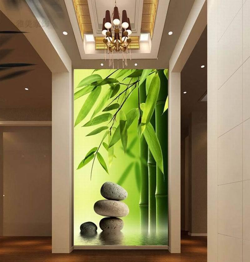 Murale papier peint en bambou promotion achetez des murale for Decoration murale nature