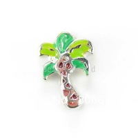 Free Shipping 20 Pcs Origami Owl Floating Charms for Living Locket Multicolor Enamel Palm Tree 8x6mm Nail Art(W02801 X 1)