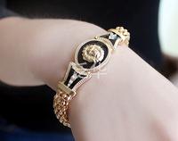 Retro Enamel lion head   Mosaic crystal Charm bracelet