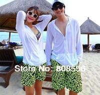 Free shipping 2014  fashion lovers beach shorts couple men/women beach light green letter